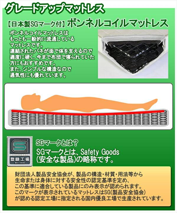 グレードアップマットレス 【日本製SGマーク付】ボンネルコイルマットレス ボンネルコイルマットレスはもっとも一般的に流通しているマットレスです。連結されたバネが面で体を支えるので、適度に硬く、今まで布団で寝られていた方にもおすすめです。また、シンプルな構造なので通気性にも優れています。 SGマークとは? SGマークとはSafety Goods(安全な製品)の略称です。 財団法人安全製品協会が製品の構造・材質・用法等から生命または身体に対する安全性の二艇基準を定め、この基準に適合している製品にのみ表示が認められます。このマークが表示されているマットレスはSG(製品安全協会)が認める認定工場に指定される国産優良工場で生産されています。