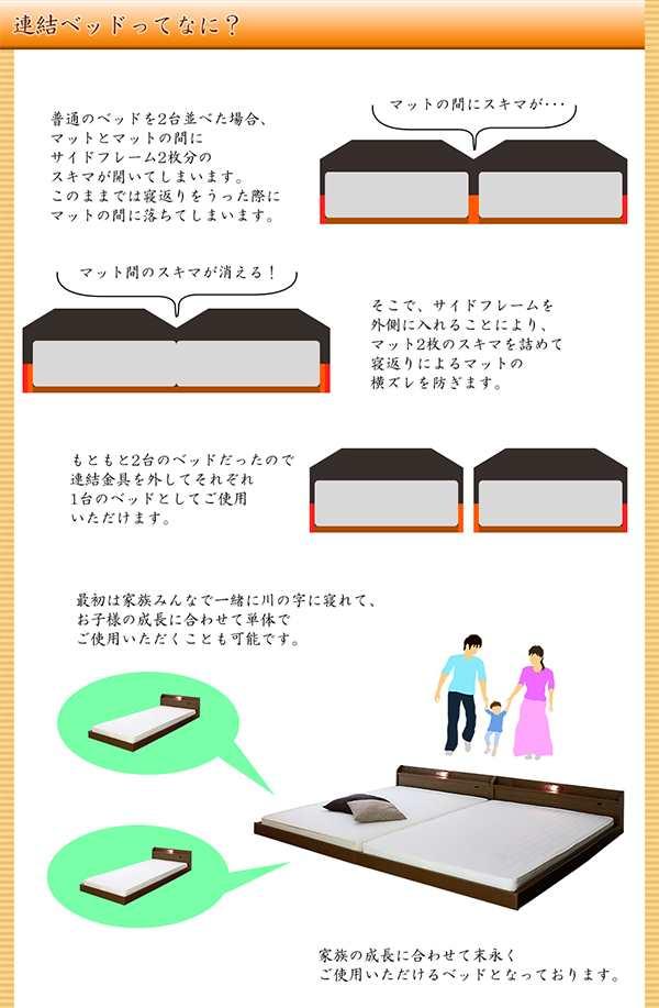連結ベッドとは。 普通のベッドを2台並べた場合、マットとマットの間に隙間があいてしまい、寝返りをうったさいにマットの間におちてしまいます。 そこでサイドフレームの取り付け方法を変える事により、マット2枚の隙間を詰めて寝返りによるマットの横ずれを押さえます。 もともと2台のベッドなので、連結金具をはずしてそれぞれ1台のベッドとしてご使用頂けます。 最初は家族みんなで川の字に寝れて、お子様の成長に合わせて単体でも使えるベッドになります。
