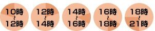 10時〜12時・12時〜14時・14時〜16時・16時〜18時・18時〜21時