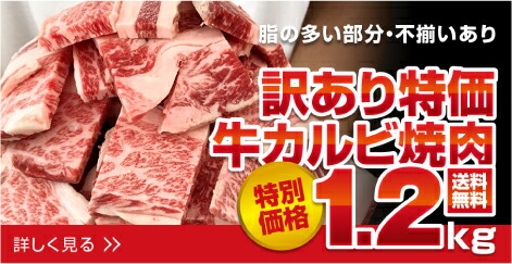 送料無料 訳あり九州産牛カルビ焼肉1.2kg 600g×2袋