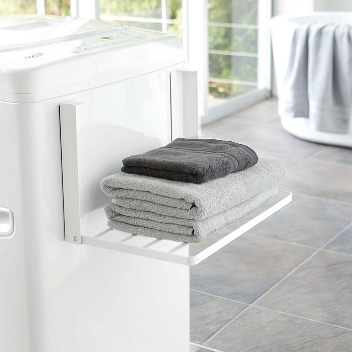 洗濯機横マグネット折り畳み棚