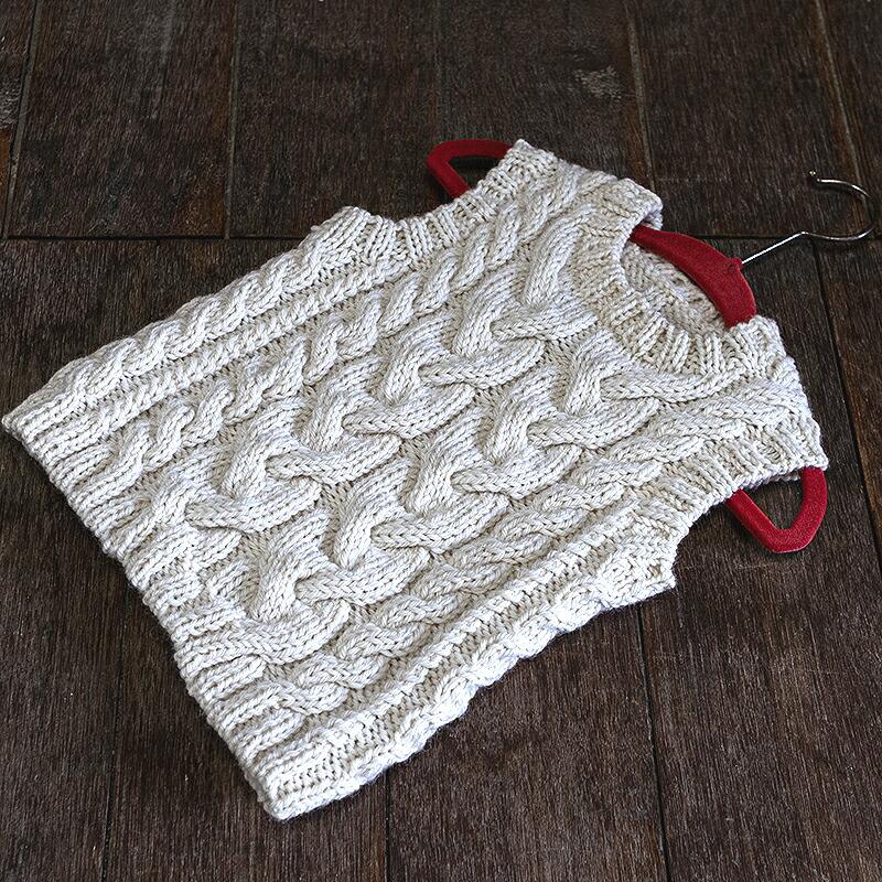 ベビー用なわ編みベスト レシピ