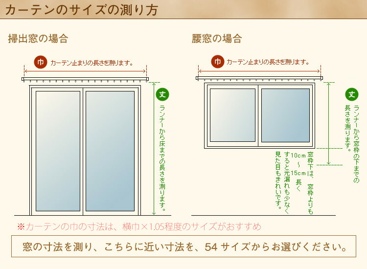 カーテンのサイズの測り方