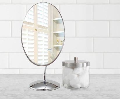 日本製 業務用 卓上鏡 スタンドミラー 化粧鏡(片面鏡)参考写真