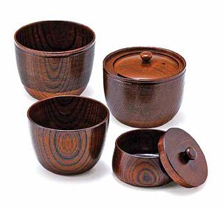 木製の茶器セット(西陣織り袋付)