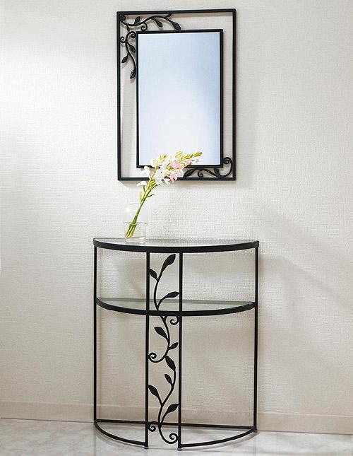 壁掛け鏡・ミラー・ウォールミラー「AR-NaA-1r97」 とコンソール・コンソールテーブル「AR-MT-007」