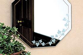 壁掛け鏡・ウォールミラー:ガラスアート・シリーズ