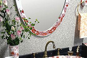 壁掛け鏡・ウォールミラー:有田焼(伊万里焼)の鏡