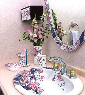 フレームミラー:「有田焼(伊万里焼)の鏡」参考写真