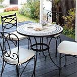 壁付けポストガーデン・エクステリア用テーブル&イス(石、ストーン)