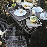 壁付けポストガーデン・エクステリア用テーブル&イス(ラタン、ファブリック)