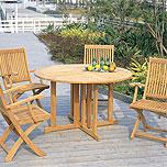 壁付けポストガーデン・エクステリア用テーブル&イス(木、天然木)