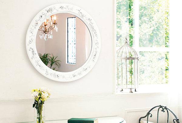 鏡・ミラー・壁掛け鏡・ウォールミラー【ホワイト色の鏡】