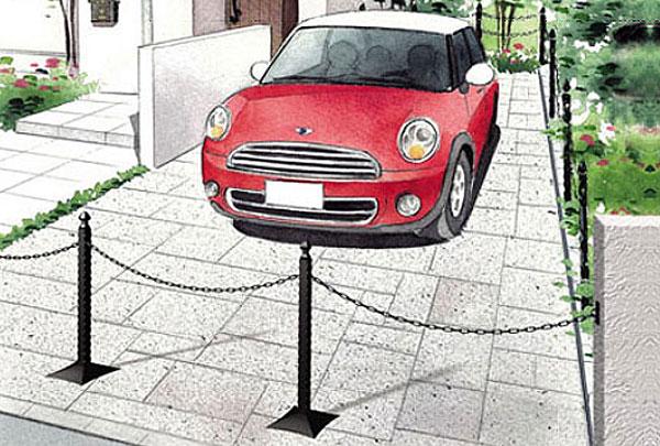 車止め(駐車場、ポール、チェーン、スタンド、チェーンポール、チェーンスタンド)