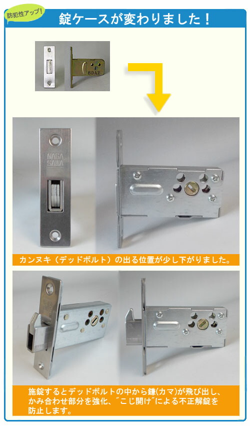 錠ケースが防犯性の高いものに変わりました