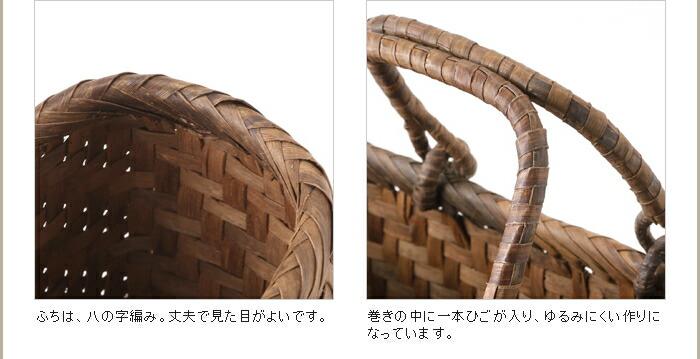 A4ファイルがすっぽり入るリング取手のくるみ籠(横長/中サイズ)