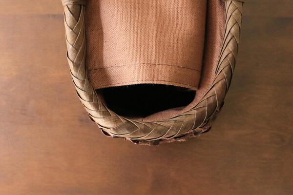 太ひごのさくら籠(市松編み/ふちと取手はくるみ/柿渋染ふた・内布・ポケット付き/中サイズ)