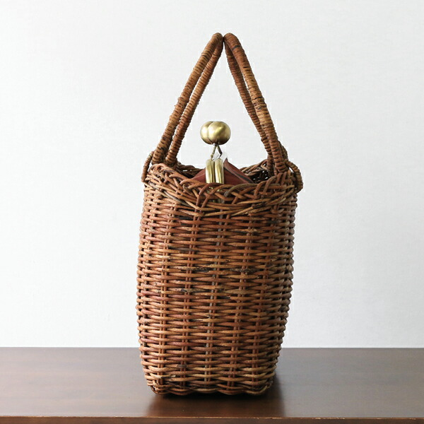 NATSUKO×かごや 1点もの あけびのがま口バッグ(国産/葉柄の銘仙/レンガ色)