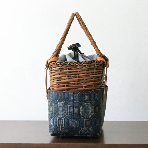 凛-kumi-×かごや 1点もの 着物とあけびのバッグ(国産/蜀江文様/下部取り外し可能/綸子巾着・ポケット付き)