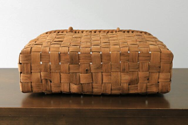 太ひごのやまぶどう籠(二番皮/市松編み/横長/中サイズ/リング取手)