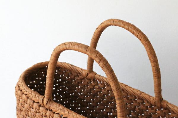 花編みやまぶどう籠(二番皮/花小/ひご幅約6mm/横長/中サイズ)