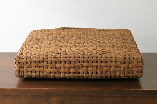 市松編みやまぶどう籠(国産材/素朴皮/スリム/角型/大サイズ/柿渋染内布・ポケット)