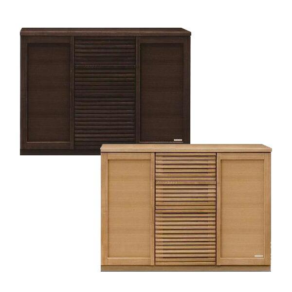 サイドボード キャビネット 完成品 幅120 キッチン収納 ブラウン ナチュラル タモ材 国産 送料無料