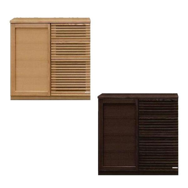 サイドボード キャビネット 完成品 幅90 キッチン収納 引出 ブラウン ナチュラル タモ材 国産 送料無料
