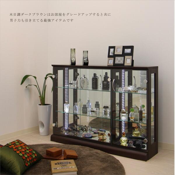 コレクションケース LED コレクションボード 幅110 奥行25 高さ80cm コレクション収納 ロータイプ フィギュア LEDライト付き 完成品 ガラスケース ガラスショーケース