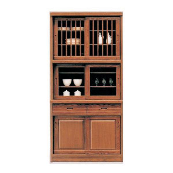 食器棚 ダイニングボード キッチンボード 95幅 幅95cm キッチン収納 カップボード 食器収納 ガラス扉 引出し 和風 シンプル モダン 木製