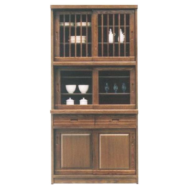 食器棚 ダイニングボード キッチンボード 幅95cm 高さ189cm キッチン収納 カップボード ガラス扉  引出し 箱組 日本製 和風 モダン 木製 カラー等 ブラウン