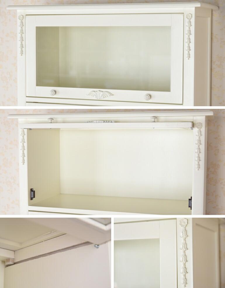 本棚 ブックシェルフ 収納家具 キャビネット リビング収納 ロココ調 家具 白 ホワイト アンティーク風 木製 コレクションボード ディスプレイ プランタン
