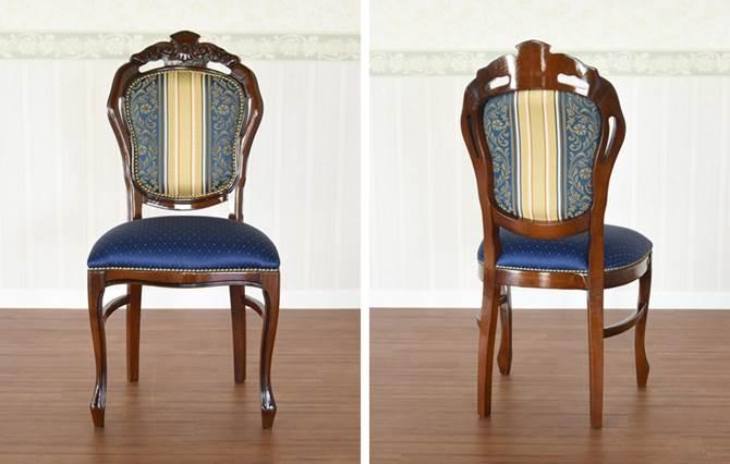 ダイニングチェア アンティーク調 木製 天然木 猫脚 布張り ファブリック イタリア 椅子 いす おしゃれ 高級感 クラシック シエロ