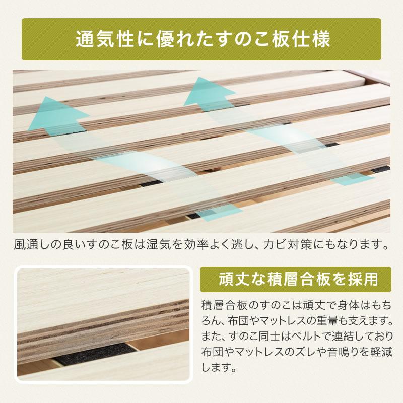 ベッド すのこベッド セミダブル 宮付 フレーム ベッドフレーム コンセント付き フロアベッド 高さ調整 3段階 天然木 パイン材 木製 シンプル 北欧
