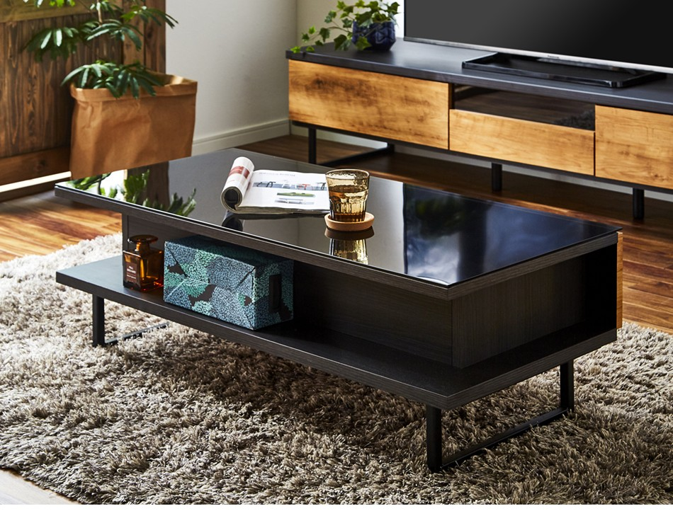 センターテーブル おしゃれ ガラス 引き出し テーブル アイアン インダストリアル 完成品 木製 国産 大川家具 ブラウン ナチュラル エイト