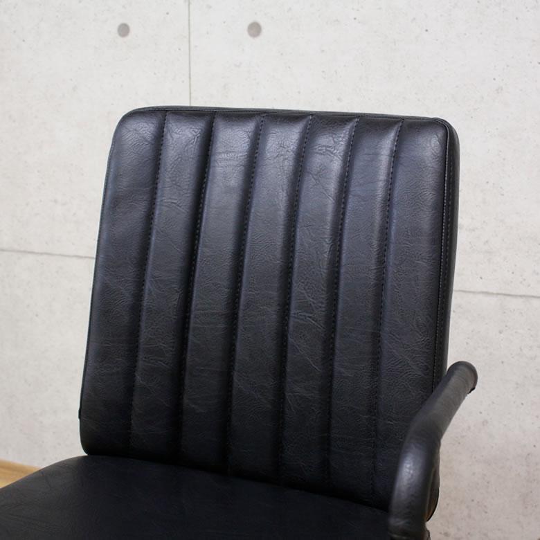 オフィスチェア アームレスト PCチェア パソコンチェア デスクチェア おしゃれ ブラック 昇降 高さ調整 レトロ レザー調 いす 椅子 チェアー