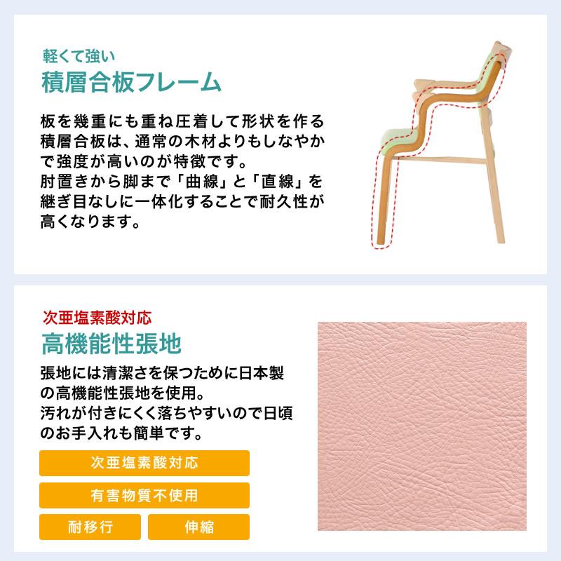 ダイニングチェア 2脚セット キャスター 福祉施設向け 高齢者 チェア ハンドル付き 介護 木製 次亜塩素酸対応 安全 日本製 2脚組 いす