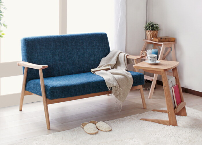 ソファ 二人掛け 北欧風 ファブリック 天然木 ソファー 木肘 完成品 リビング 一人暮らし