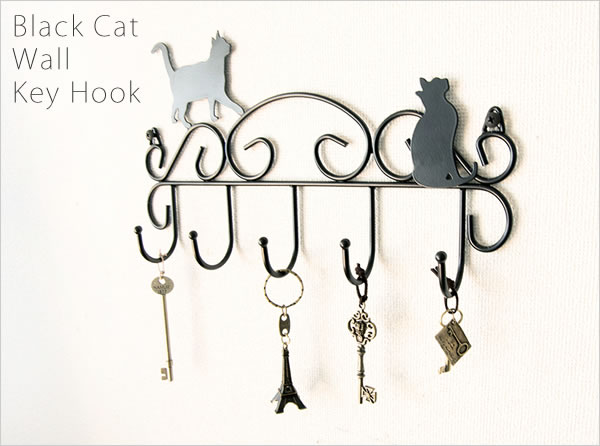 キーフック 鍵かけ 壁掛け 鍵収納 鍵 フック ウォールフック 猫モチーフ アイアン 可愛い カジュアル 猫 玄関