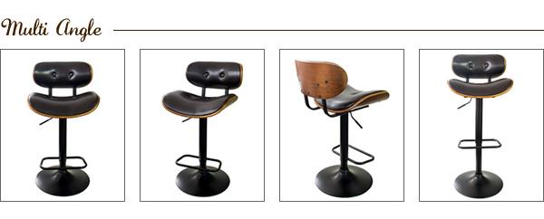 バーチェア カウンターチェア ハイチェア 背もたれ付き おしゃれ 木製 レザー 曲げ木 高級感 回転式 昇降式 レッド ブラウン カフェ