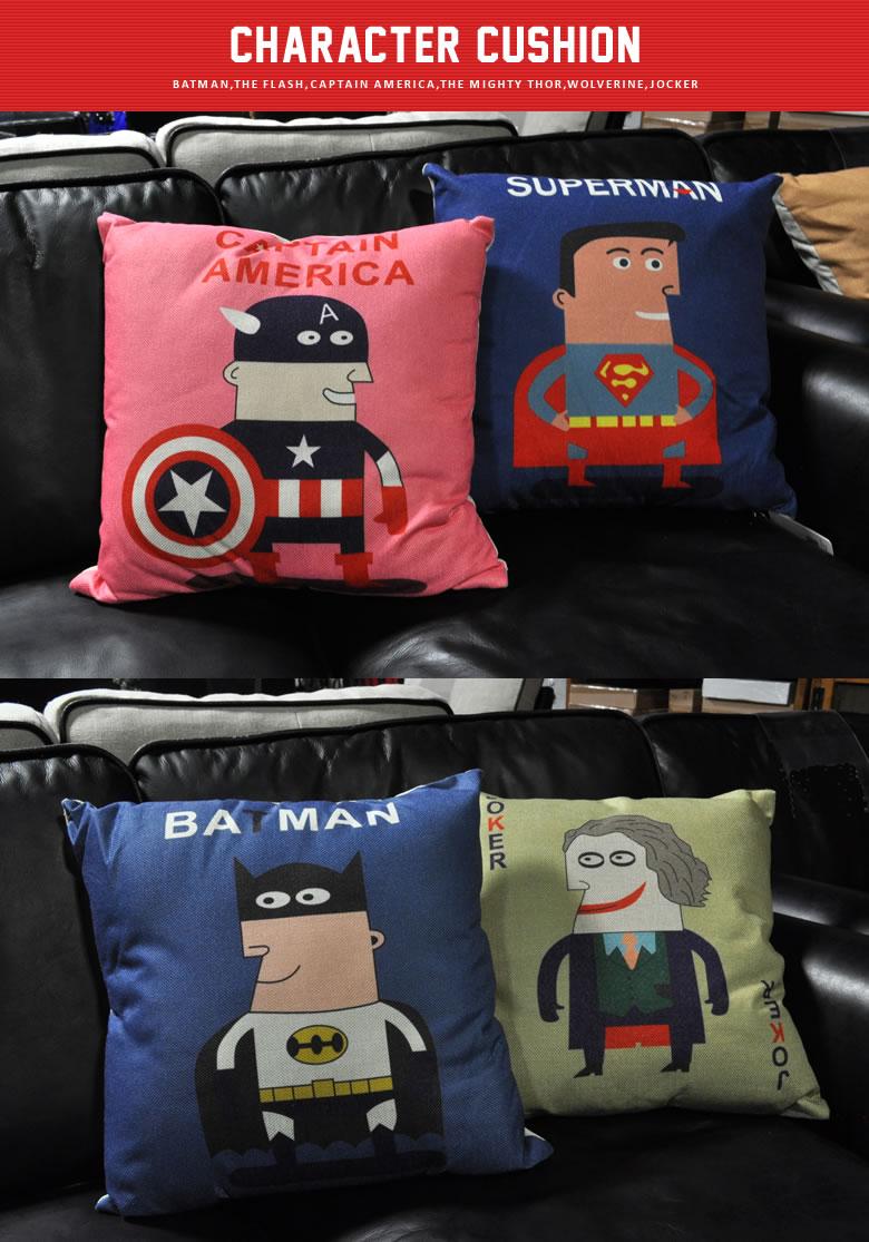 クッション ナチュラルリネン ヒーロー 映画 アメコミデザイン おしゃれ かわいい キャプテンアメリカ スーパーマン バットマン ジョーカー マイティソー ウルヴァリン フラッシュ
