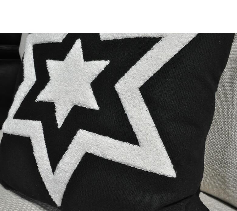 クッション 星柄 スター おしゃれ ファブリック 黒 モダン 角型 座布団 かわいい 一人暮らし かっこいい 雑貨 フロアクッション