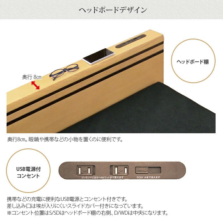 ヘッドボード棚・USB電源付きコンセント