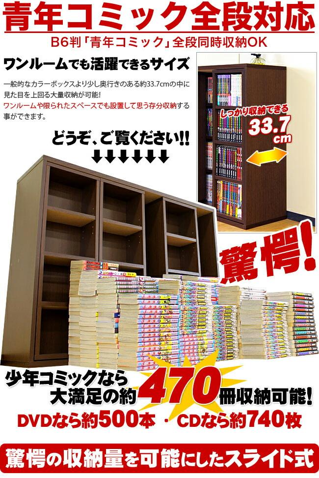DVDや青年コミックも収まる 少年コミックなら最大470冊収納可能