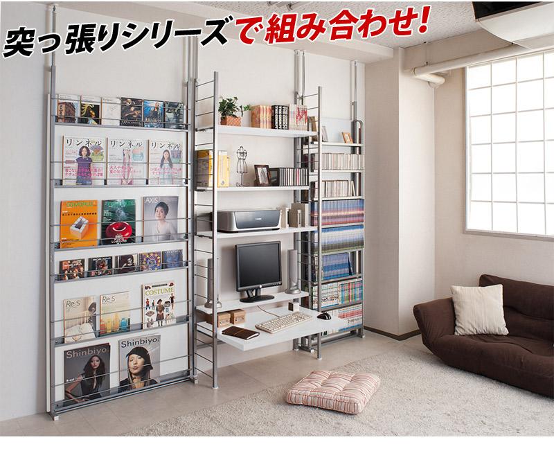 突っ張りデスク 幅61cm 日本製 可動棚付き ウッド茶ブラウン白ホワイト 天井つっぱり固定式 パソコンデスク学習机 薄型 スチール製フレーム 木製天板 スリム