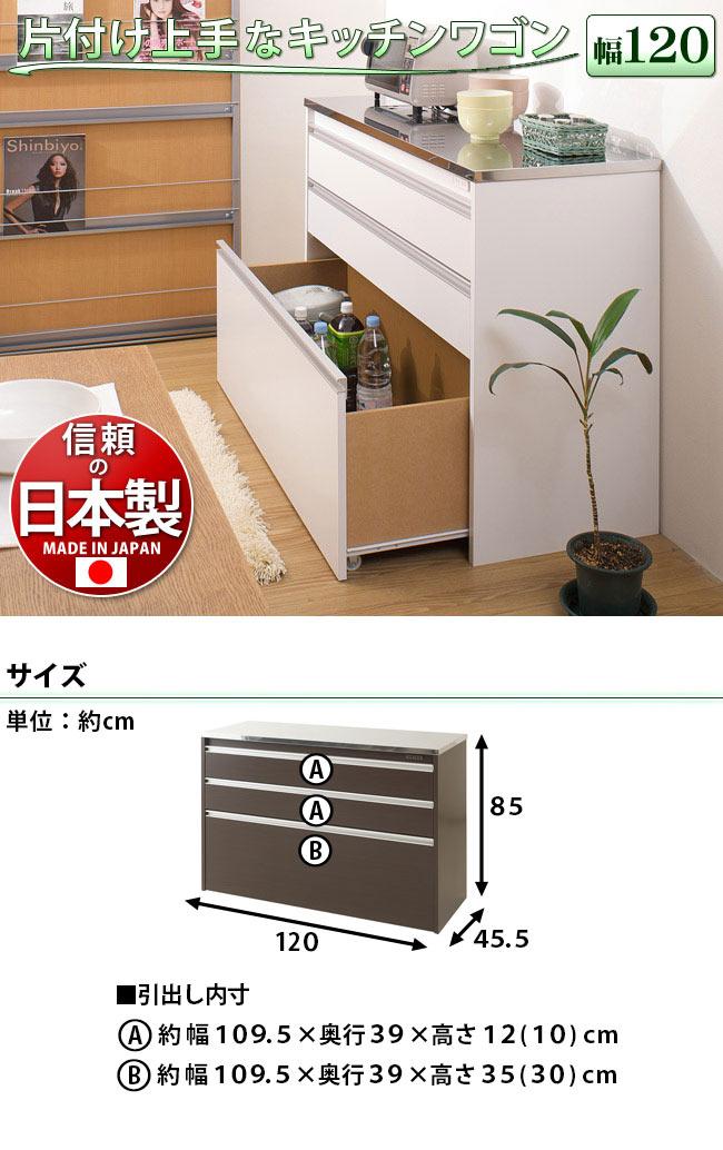 ステンレストップキッチンカウンター幅約120cm 天板はステンレス製 詳細説明
