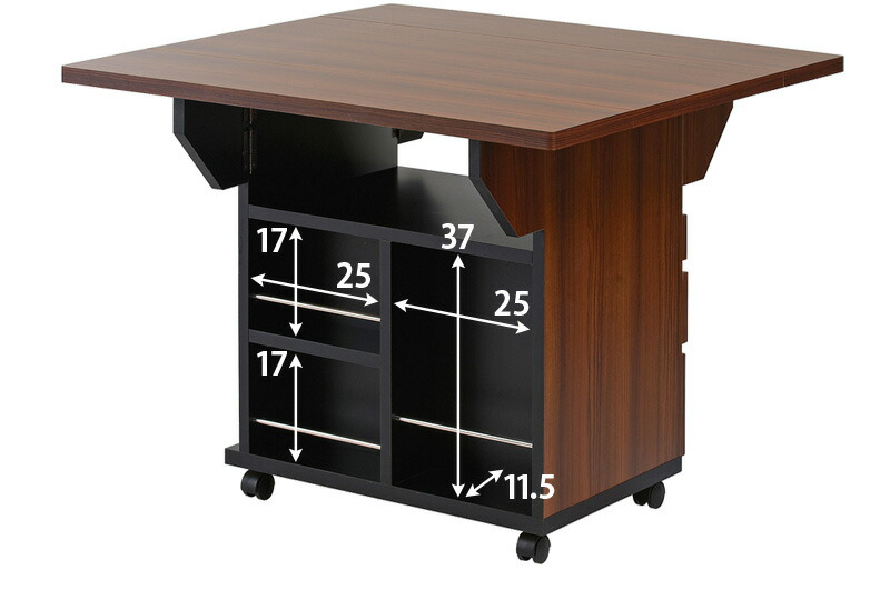 スタイリッシュな収納棚付きダイニングテーブル キャスター付きで移動も楽にできます