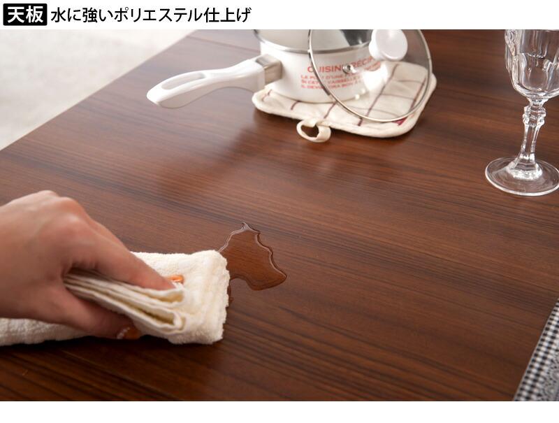 スタイリッシュな収納棚付きダイニングテーブル キャスター付きで移動も楽にできます 商品説明画像