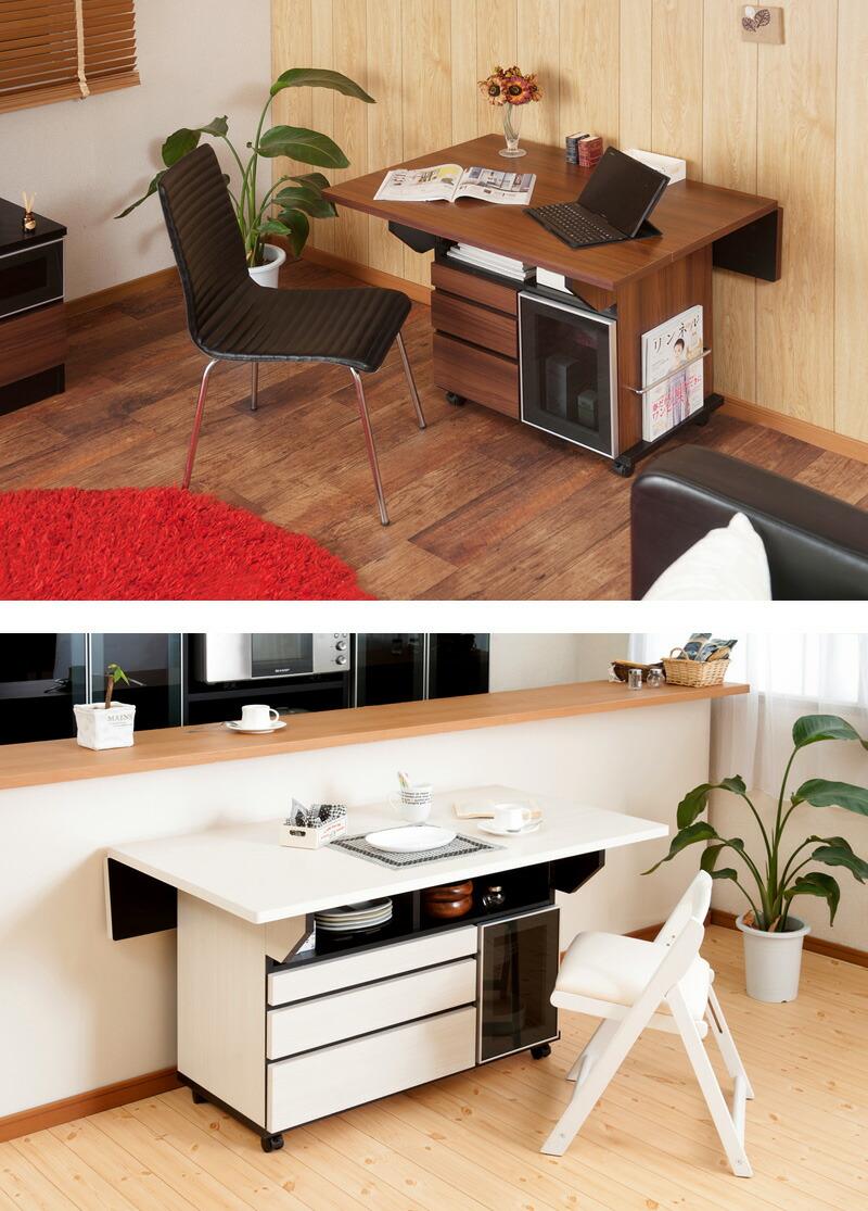 スタイリッシュな収納棚付きダイニングテーブル 幅119.5cmタイプ 商品説明画像