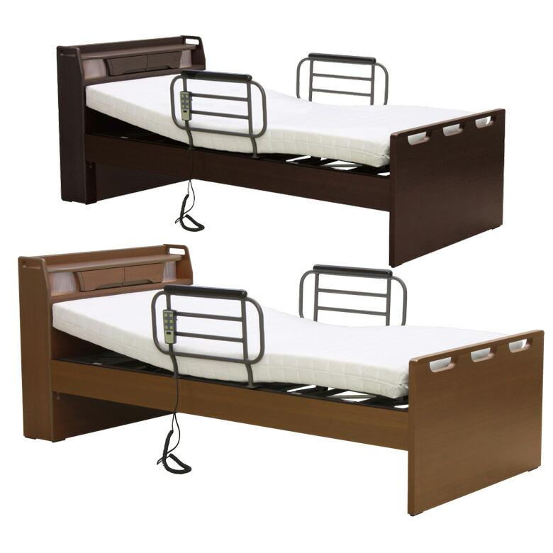 電動リクライニングベッド 電動ベッド リクライニングベッド 介護ベッド 選べる2色 コンパクト 木製ベッド おしゃれ シンプル フレームのみ 木製 ベッドフレーム ベッド ベット ミドルブラウン ダークブラウン